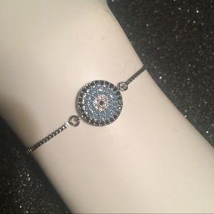 Silver Plated Pave Blue CZ Adjustable Bracelet